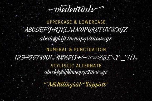 Credentials Script Font free