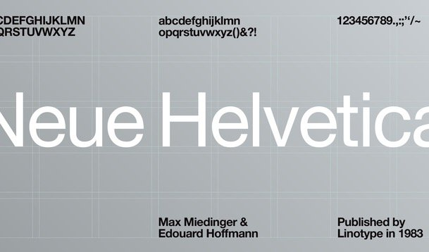 Helvetica Neue font, designed by Max Miedinger