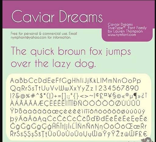 Caviar Dreams Font free