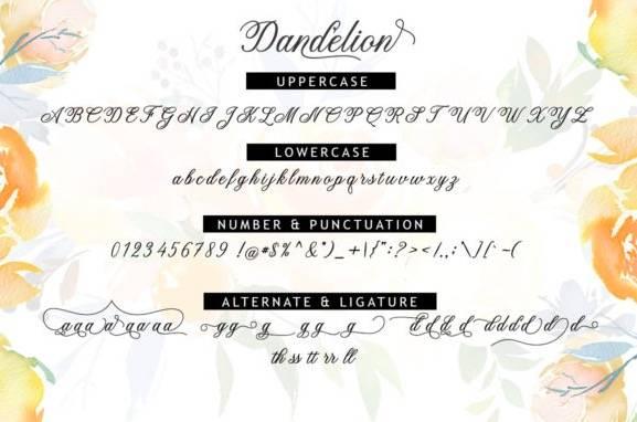 free Dandelion Modern Calligraphy Font download