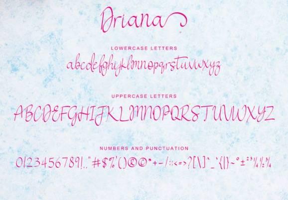 download Driana Handwritten Font free