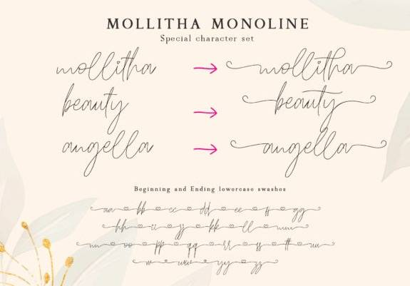 download Mollitha Calligraphy Font free