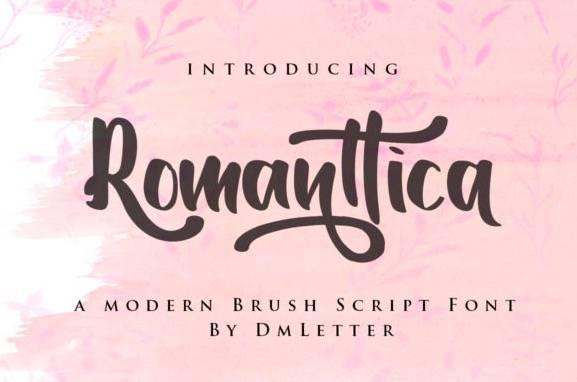 Romanttica Modern Brush Script Font