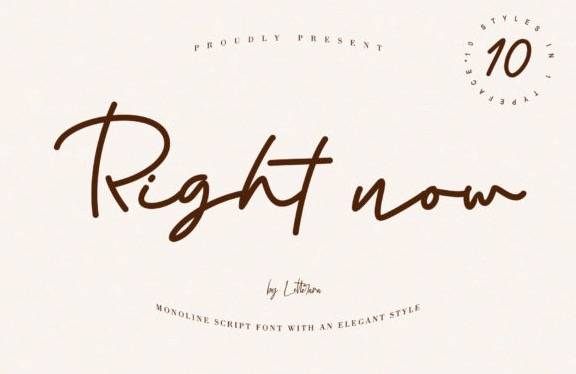 Right Now Monoline Font