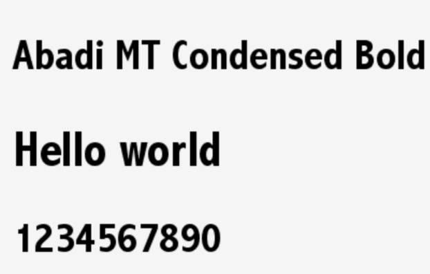 Abadi MT Condensed Extra Bold