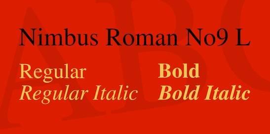 Nimbus Roman No9 L Font Family free