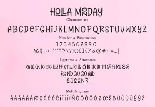 Holla Monday Font