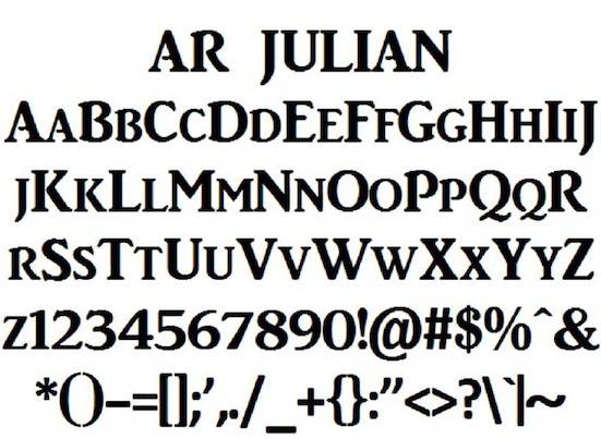 Ar Julian font free