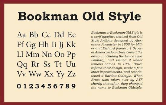BookMan Old Style font features