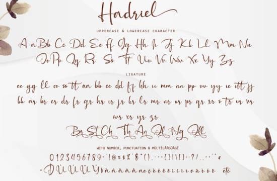 Hadriel font free