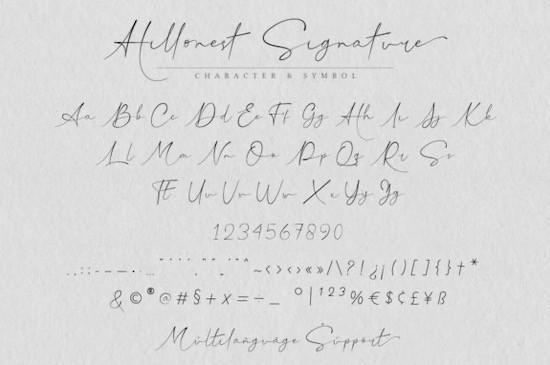 Hillonest signature font free
