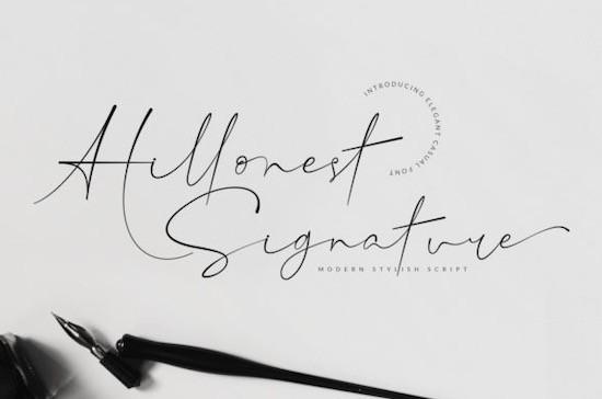 Hillonest signature font