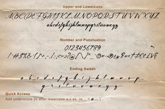 Lingerhend Font download