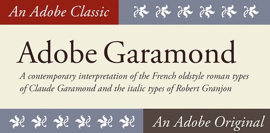 Adobe Garamond Pro font free