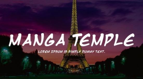 Manga Temple font