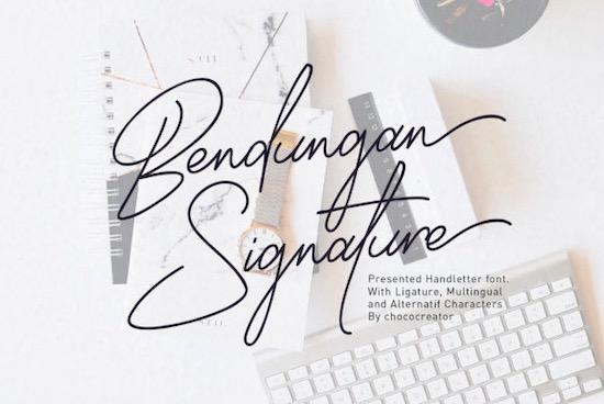 Bendungan Signature font free download