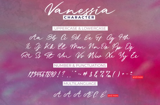 Vanessia font free
