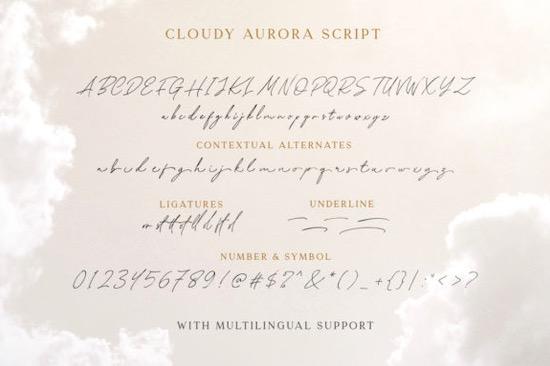 Cloudy Aurora font free