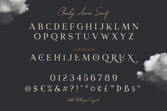 Cloudy Aurora font