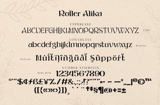 Roller Alika font free