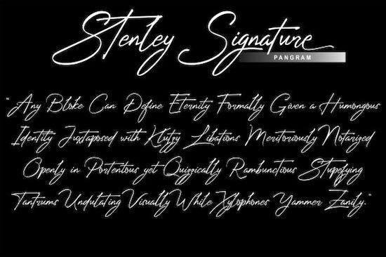 Stenley Signature font free