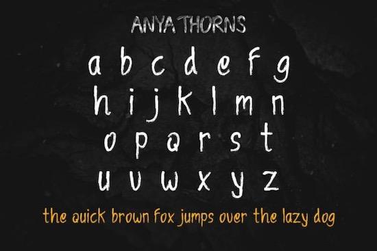 Anya Thorns font free
