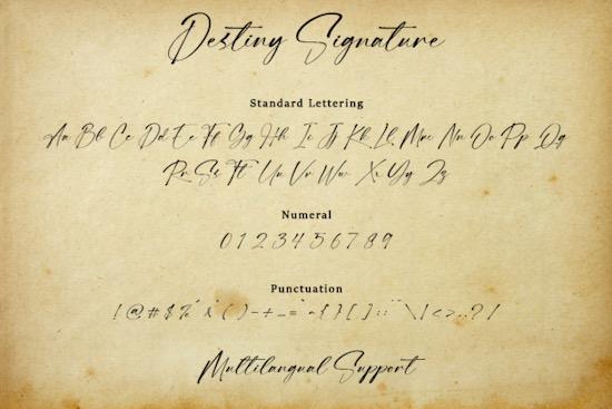 Destiny Signature font