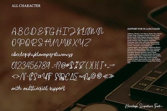 Handoyo Signature font free