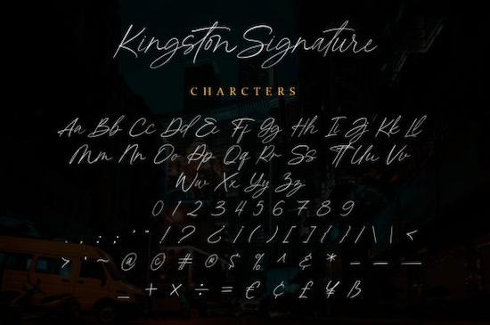 Kingston Signature font free