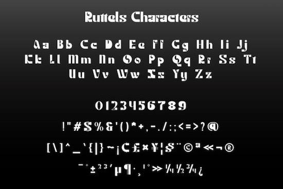 Ruttels Display font free