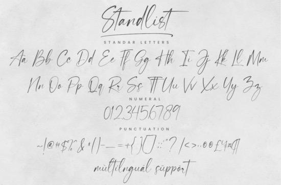 Standlist font free