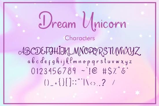 Dream Unicorn font free