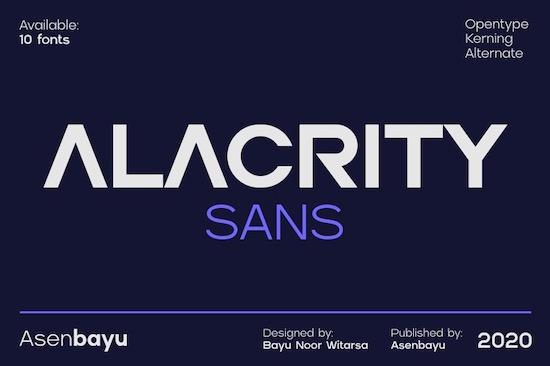 Alacrity Sans font family download