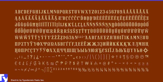 Electric font free download