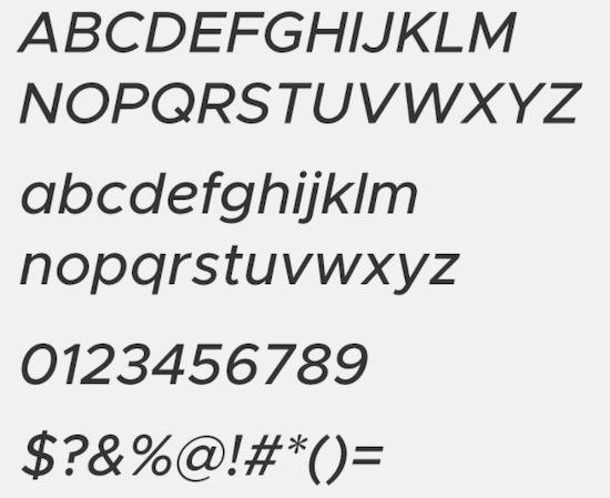 Metropolis Medium Italic font