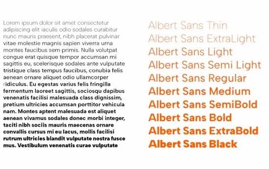 Albert Sans font family free