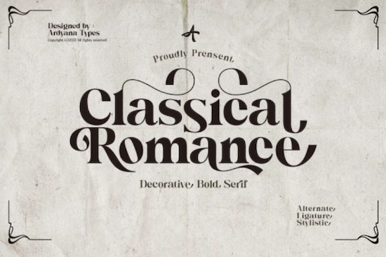 Classical Romance font free download