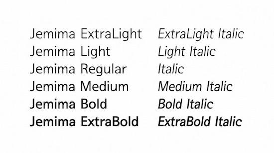 Jemima font family free