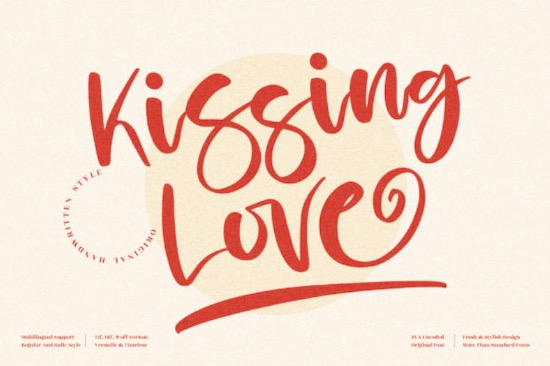 Kissing Love font free download
