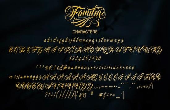 Familia Tattoo Lettering Font download